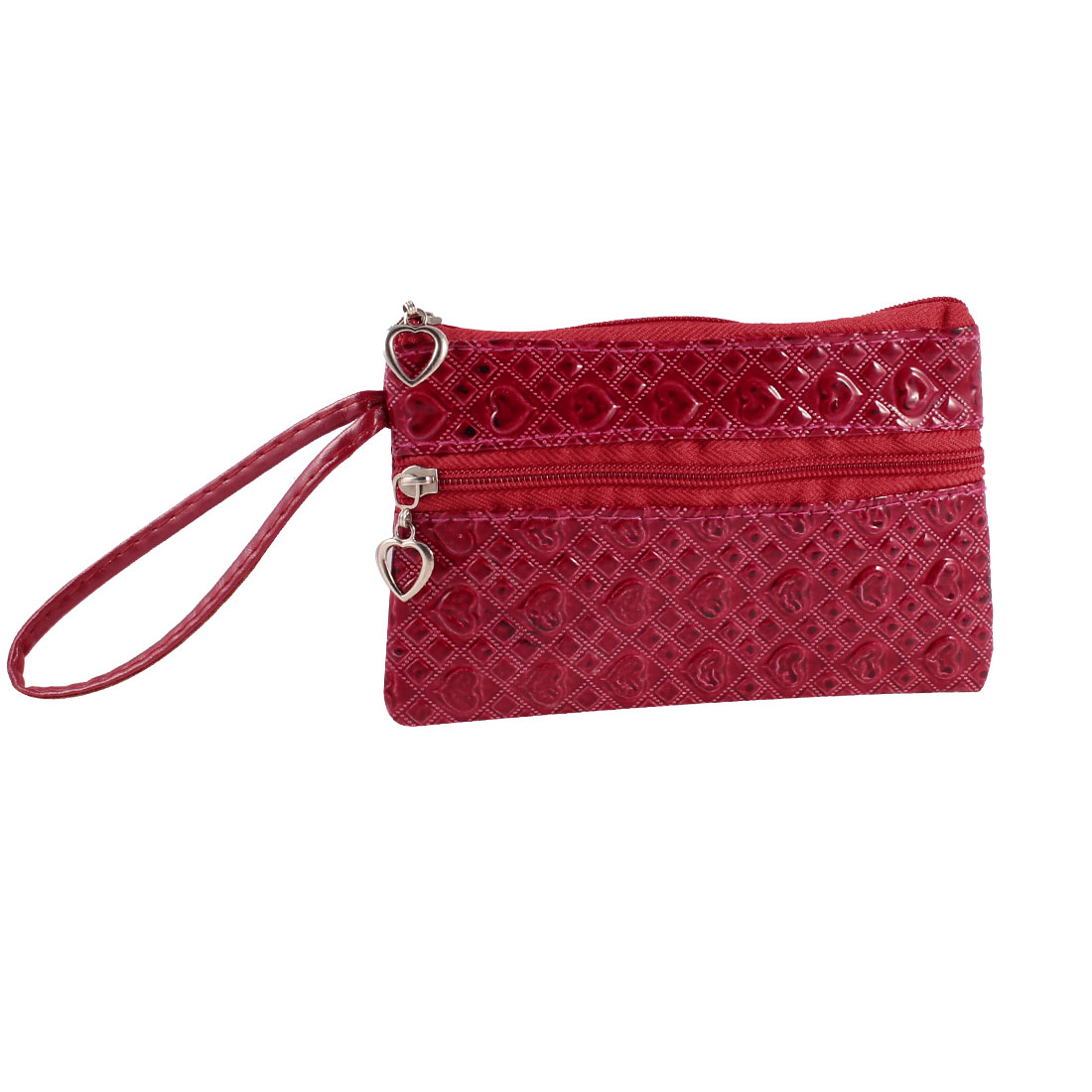 Portable Heart Pattern Zipper Closure Purse Wallet Bag Red for Women