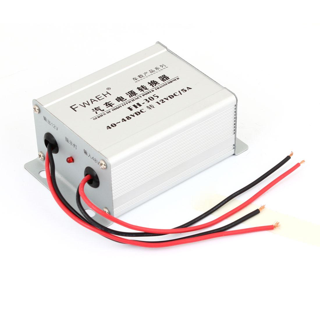 Car Auto Pre-wired DC 40-48V to DC 12V 5A Voltage Power Transformer