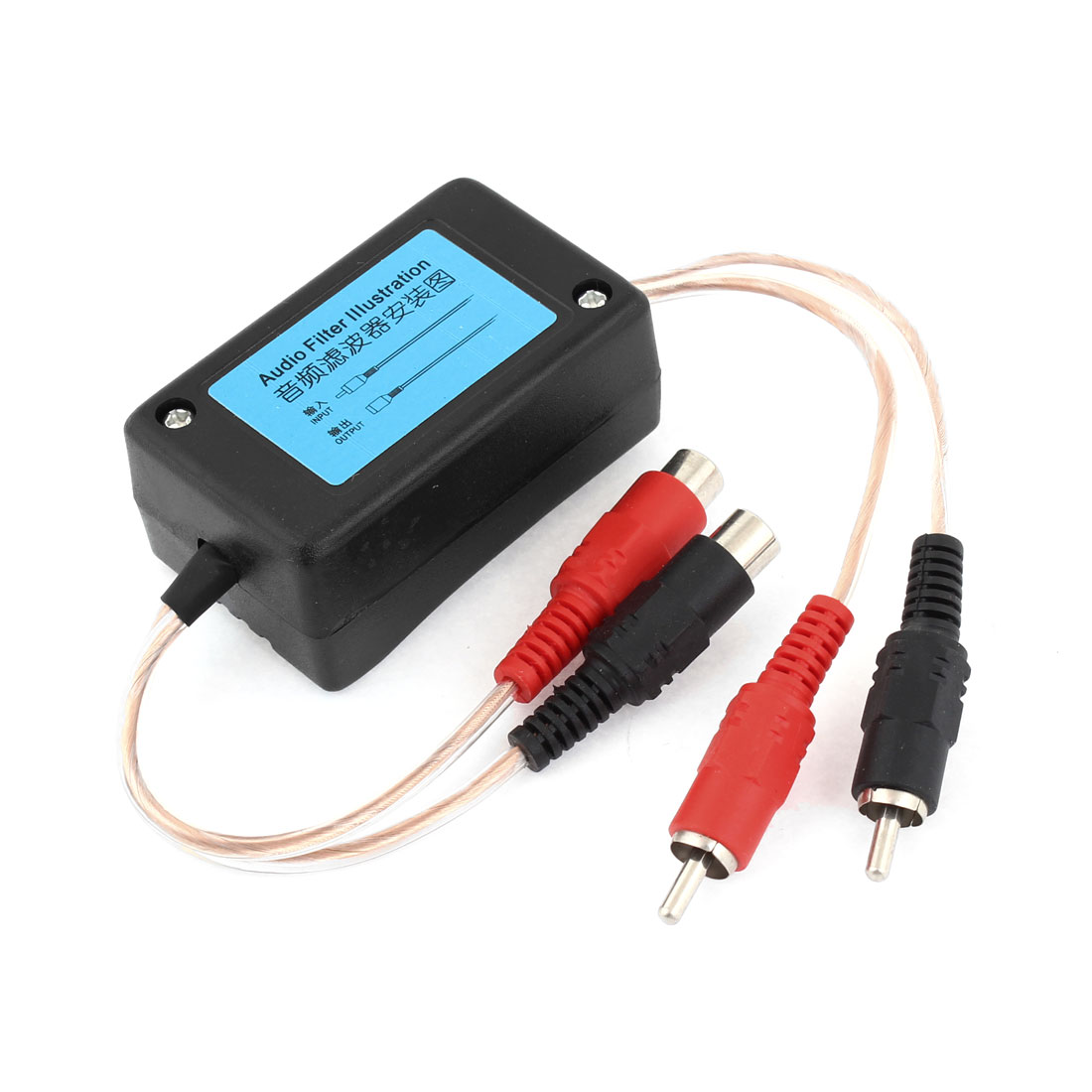 Black Shell RCA Male Input Female Output Audio Noise Filter for Car