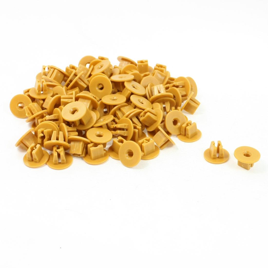 100 Pcs Auto Car Door Fender 9x8mm Hole Push Plastic Rivets Fastener Yellow