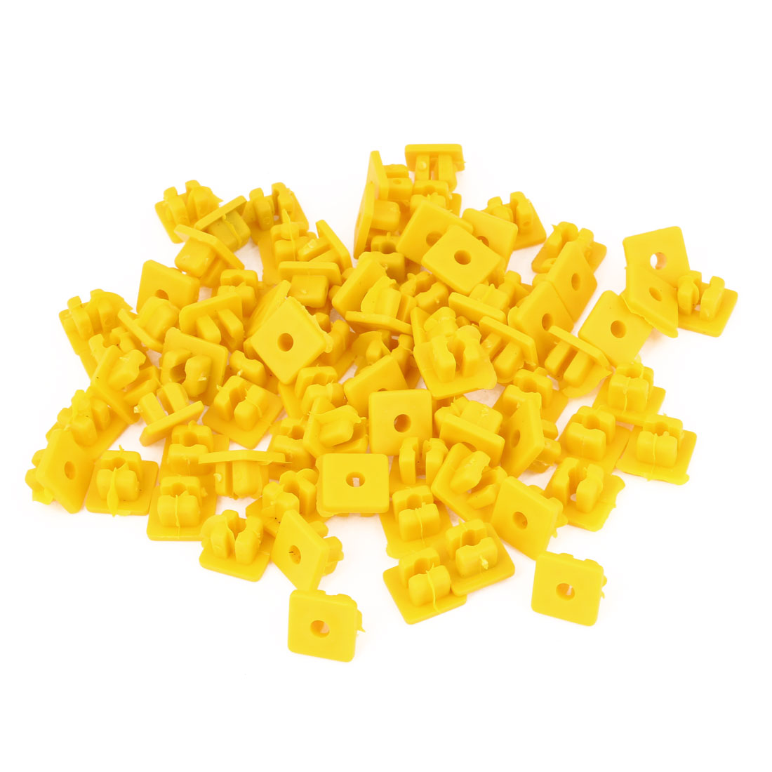 8.8mm x 8.2mm Hole Plastic Push Type Rivet Clip Yellow 100pcs for Car Door