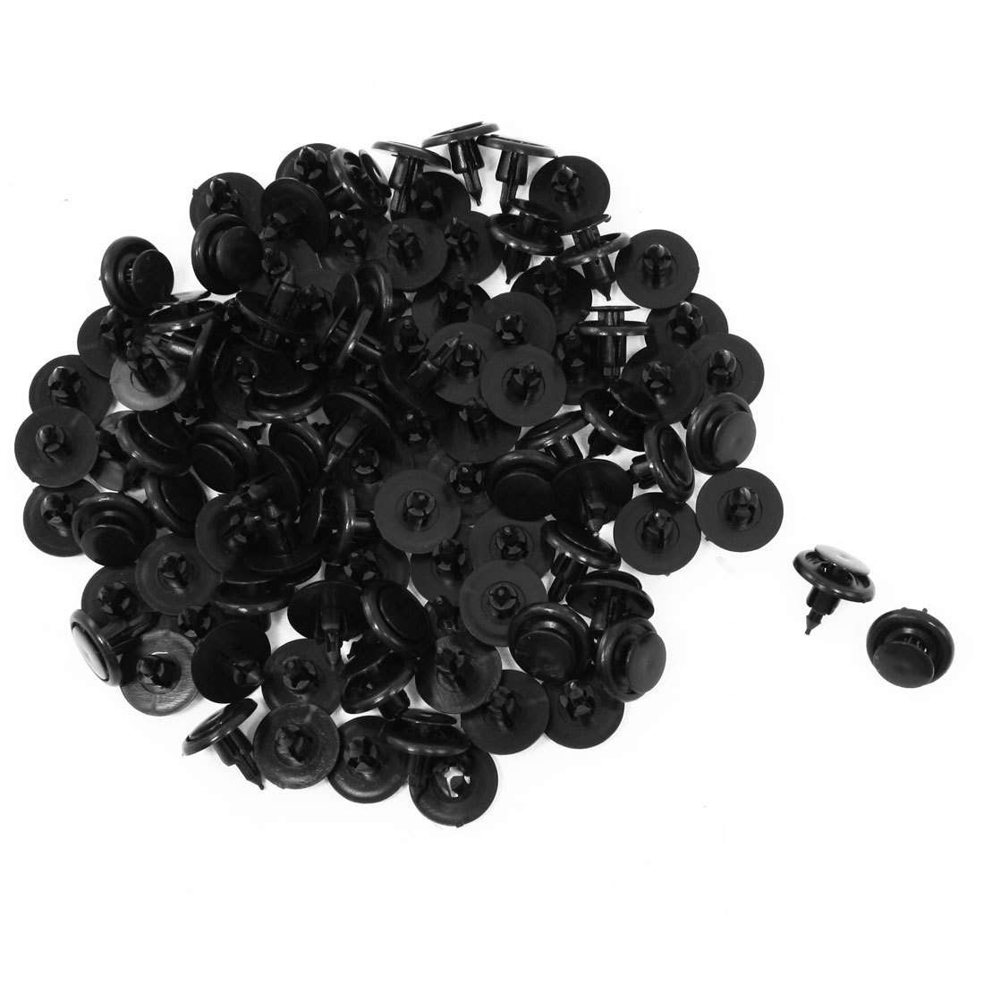 100 Pcs Auto Car Bumper Fender 7mm Hole Push Plastic Rivets Clips Black