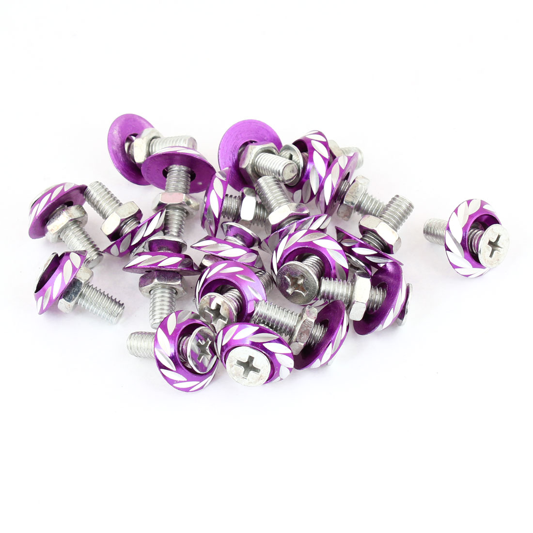 20 Pcs Purple Leaf Pattern Auto Car Motorcycle License Plate Frame Screw