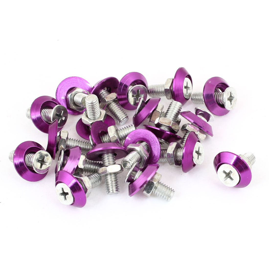 20 x Silver Tone Purple Auto Car Motorcycle License Plate Frame Screw