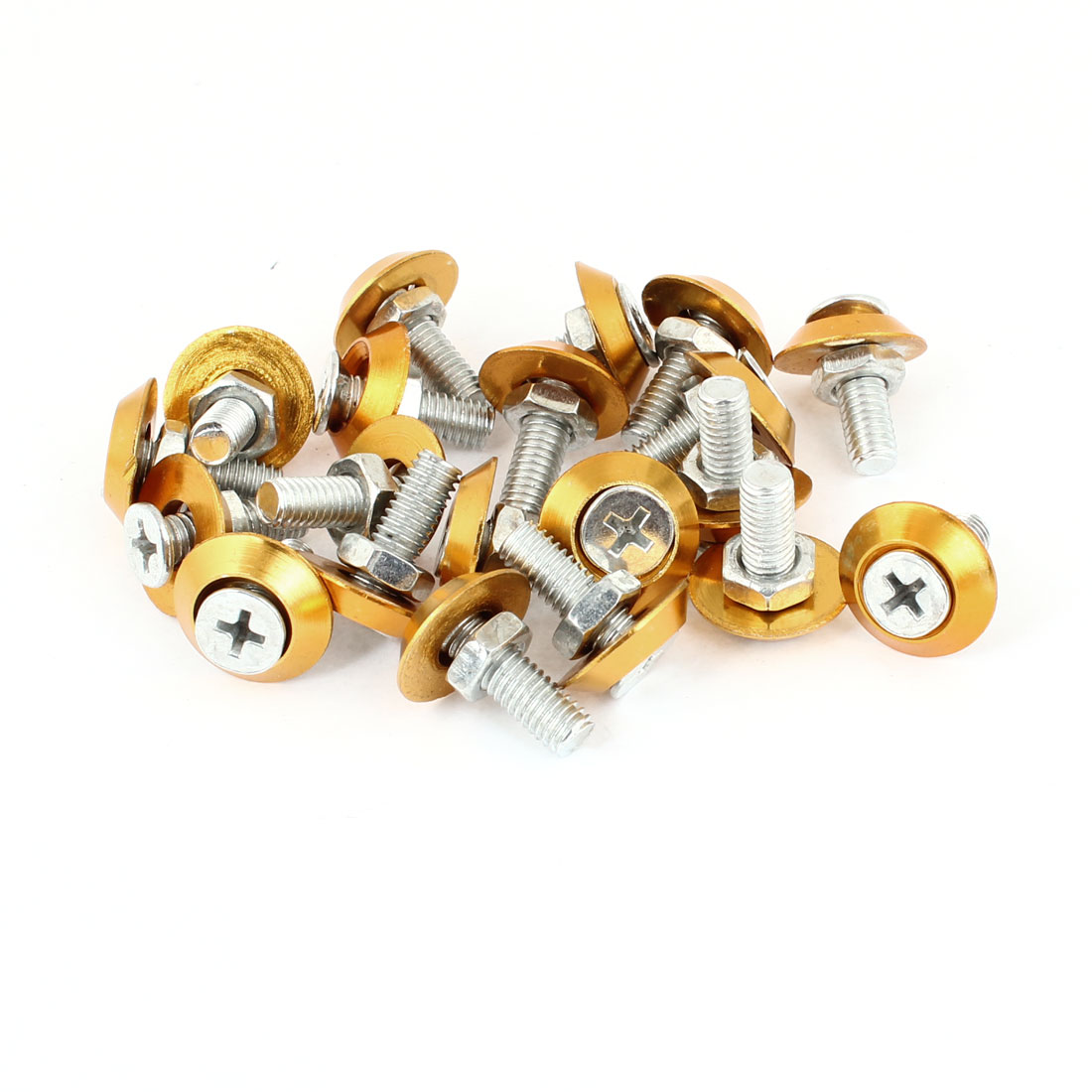 Vehicle Car Gold Tone Round Shape License Plate Decorative Screw Bolt 20pcs