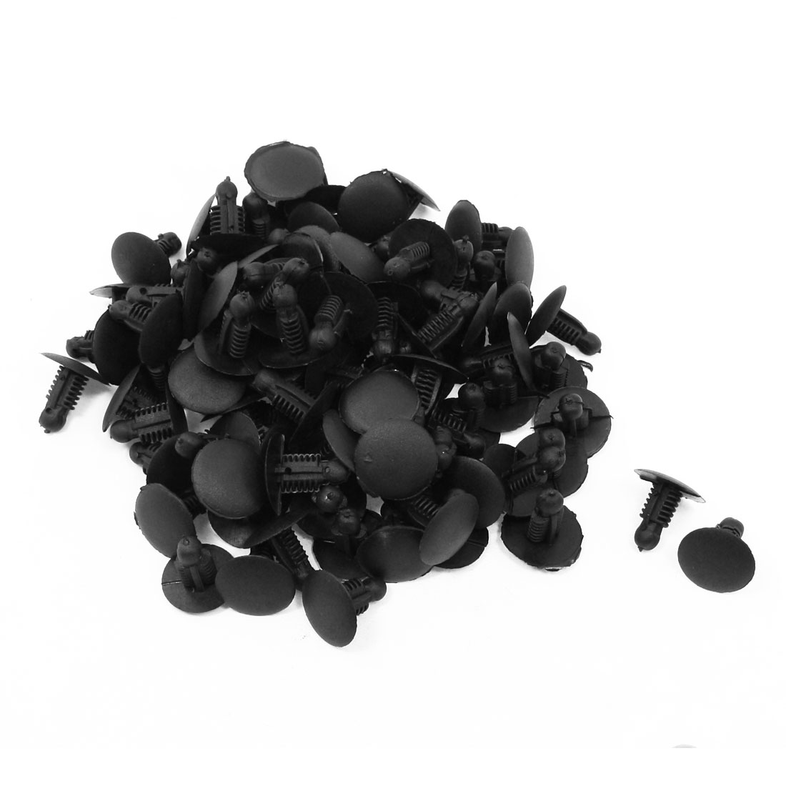 100 Pcs Auto Car Door Fender 9x7mm Hole Push Plastic Rivets Fastener Black