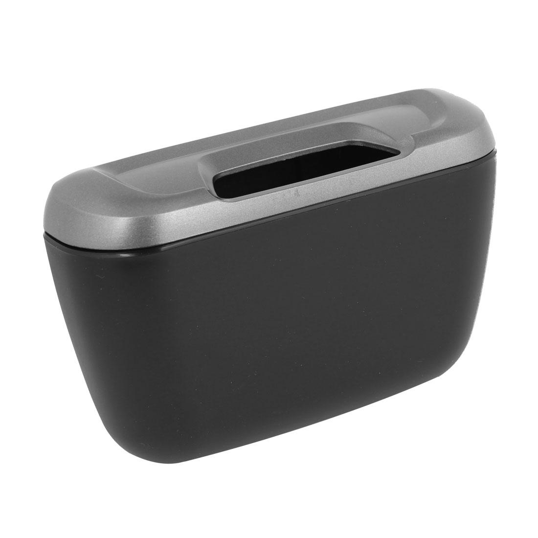 Hook Designed Dark Gray Black Plastic Trash Rubbish Bin Can for Vehicle Car