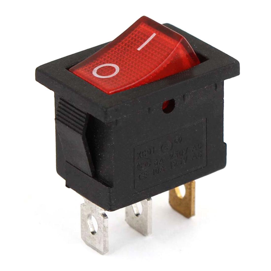 AC 6A/250V 10A/125V 3 Pin 2 Position Red LED Light ON/OFF Rocker Switch KCD1