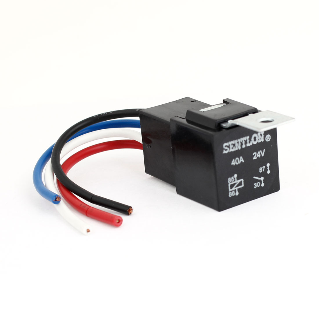 Auto Car DC 24V 40A Plastic Socket SPST 4 Pin 4 Wires Cable Power Relay