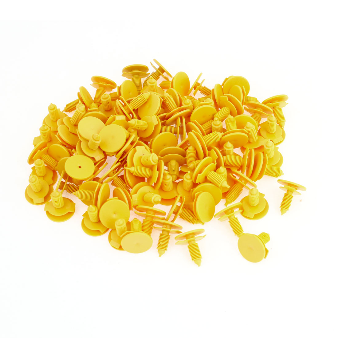 100pcs Vehicle Car 6.7mm Hole Yellow Door Fender Plastic Rivets Fasteners