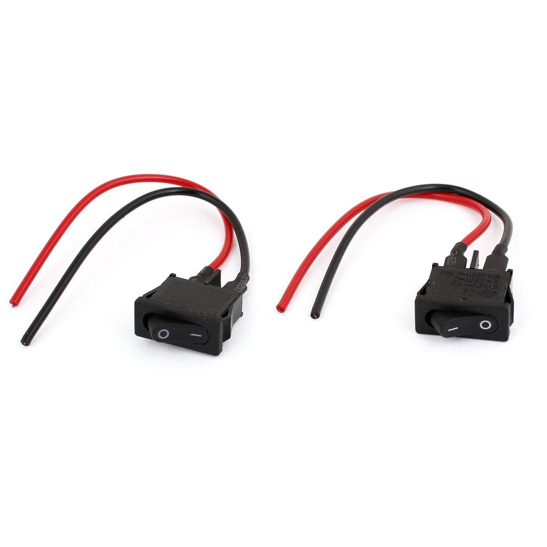 2 Pcs AC 6A/250V 10A/125V ON/OFF Rocker Switch for Auto Car