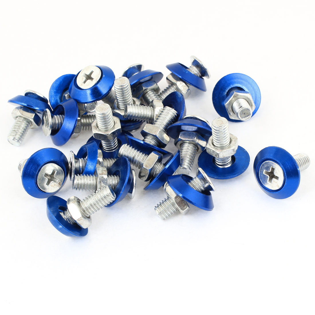 20 Pcs Silver Tone Blue Auto Car Motorcycle License Plate Frame Screw