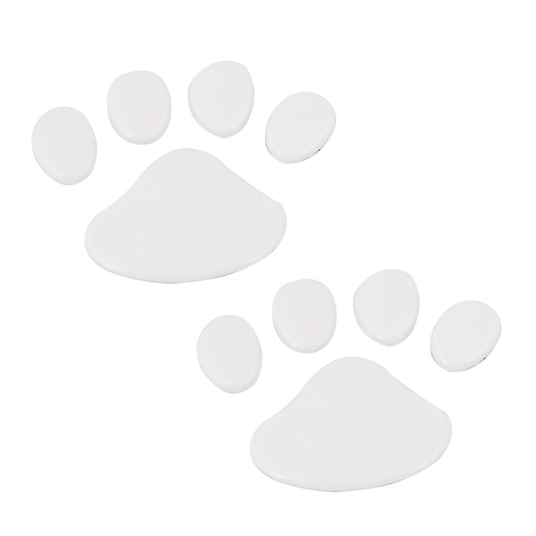 2 Pcs White Dog Footprint Badge Emblems Sticker for Vehicle Car