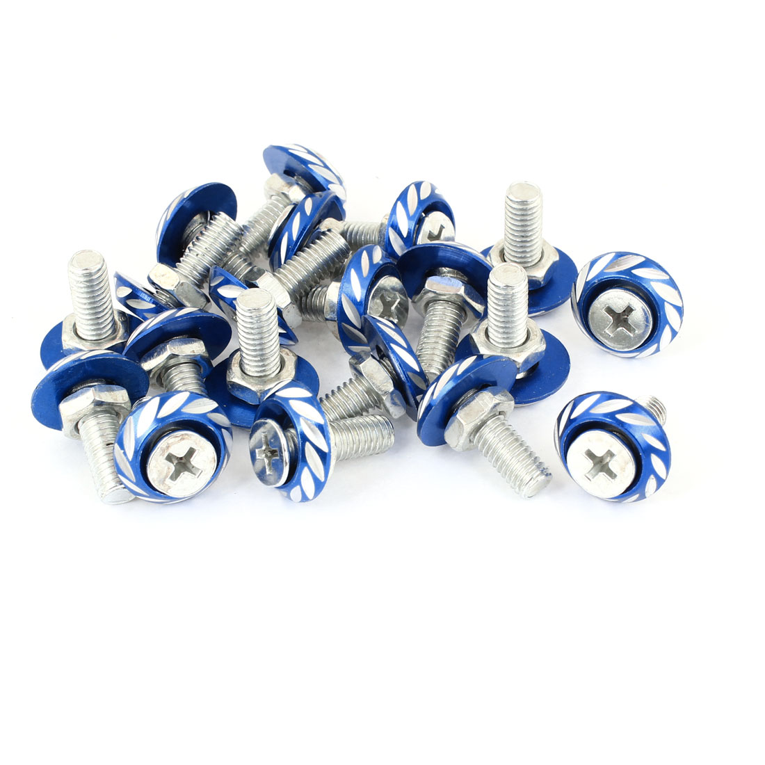 Vehicle Car Blue Round Shape Leaf Pattern License Plate Screw Bolt 20pcs