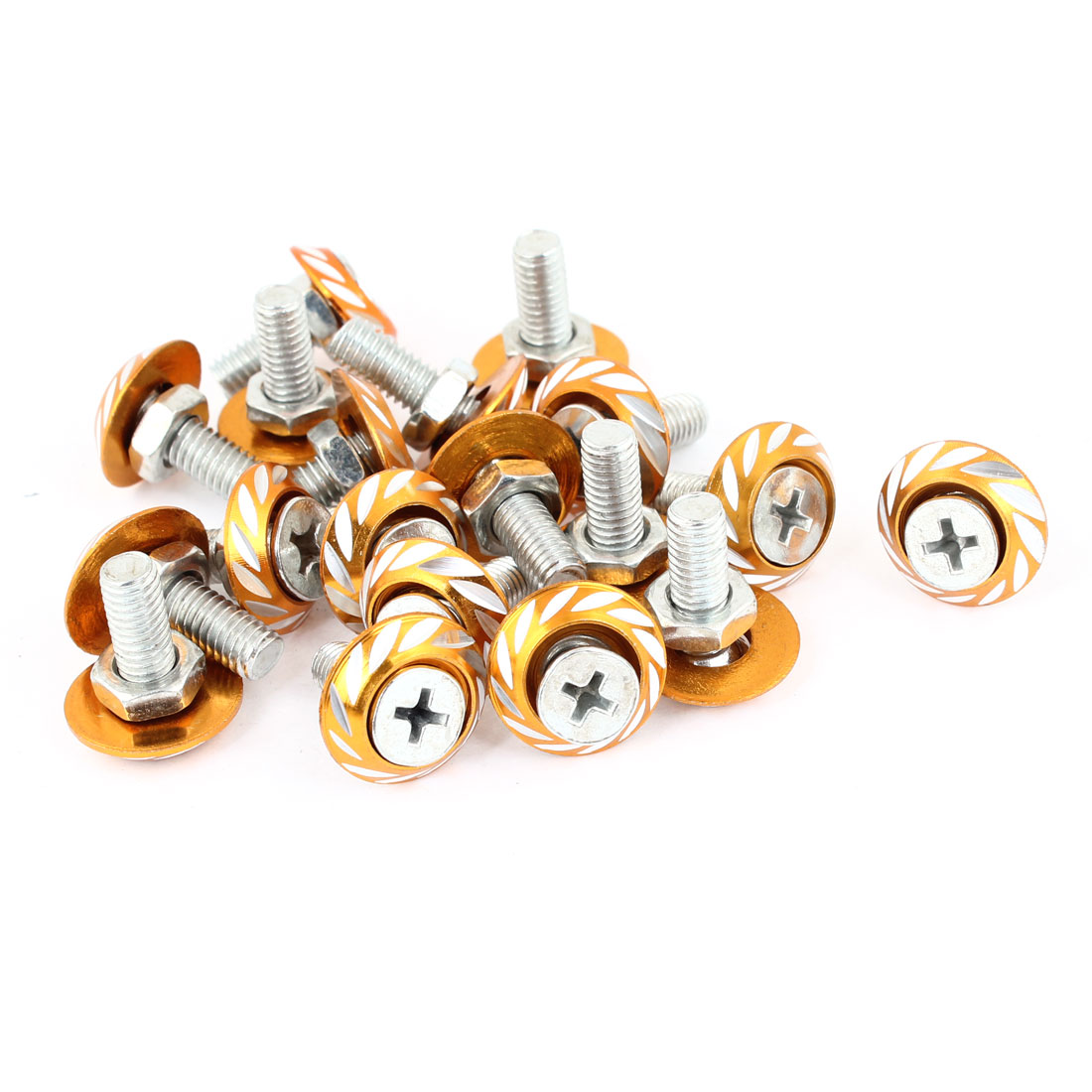 Vehicle Car Gold Tone Circle Shape Leaf Pattern License Plate Screw Bolt 20pcs