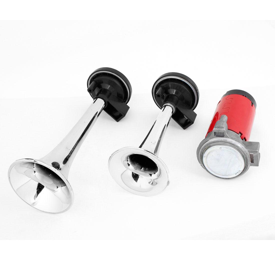 Auto Car Vehicle DC 12V Dual Trumpet Loud Air Horn Spare Part Black Silver Tone