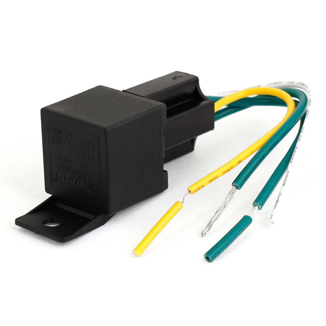 Auto Car DC 12V 30A Plastic Socket SPST 4 Pin 4 Wires Cable Power Relay