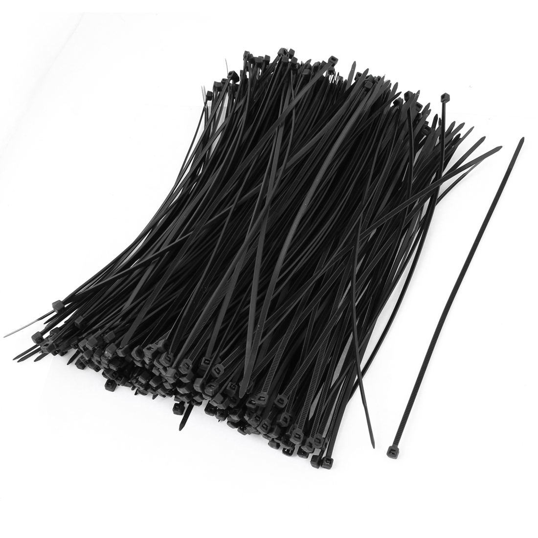 500 Pcs 25cm Length Black Nylon Self Locking Cable Organization Tie