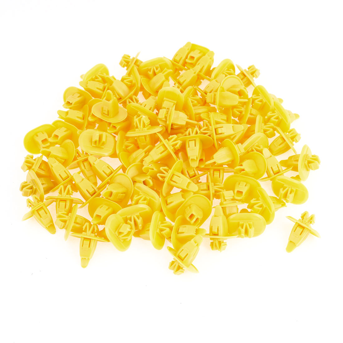 Car Yellow 10mm Hole Bumper Fender Plastic Rivets Screw Fasteners 100 Pcs