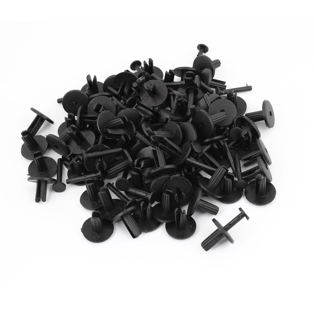 100 Pcs 6.2mm Hole Car Door Push Type Plastic Rivets Fastener Black