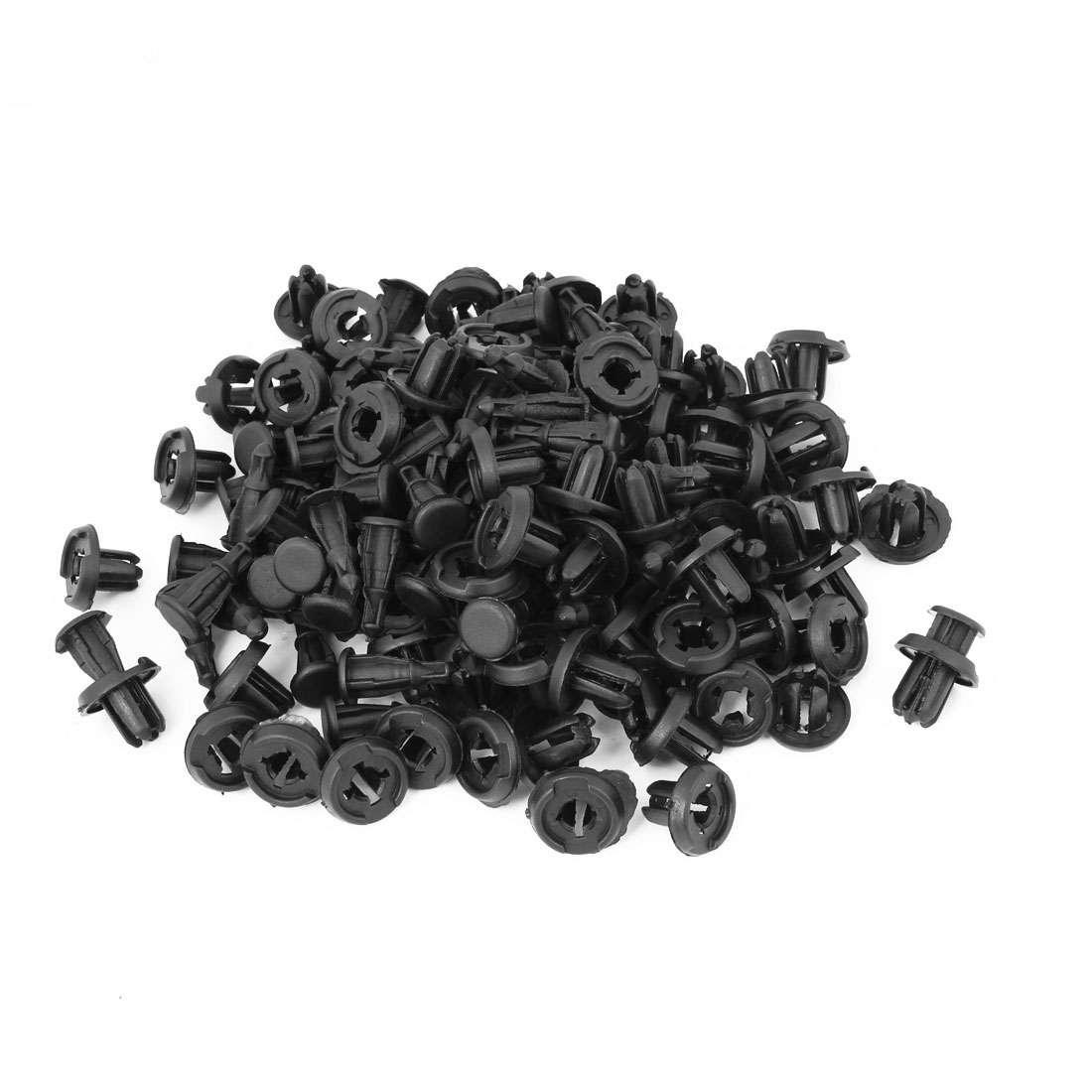 100 Pcs Auto Car Fender 10mm Hole Black Plastic Trim Boot Rivets Push Clip