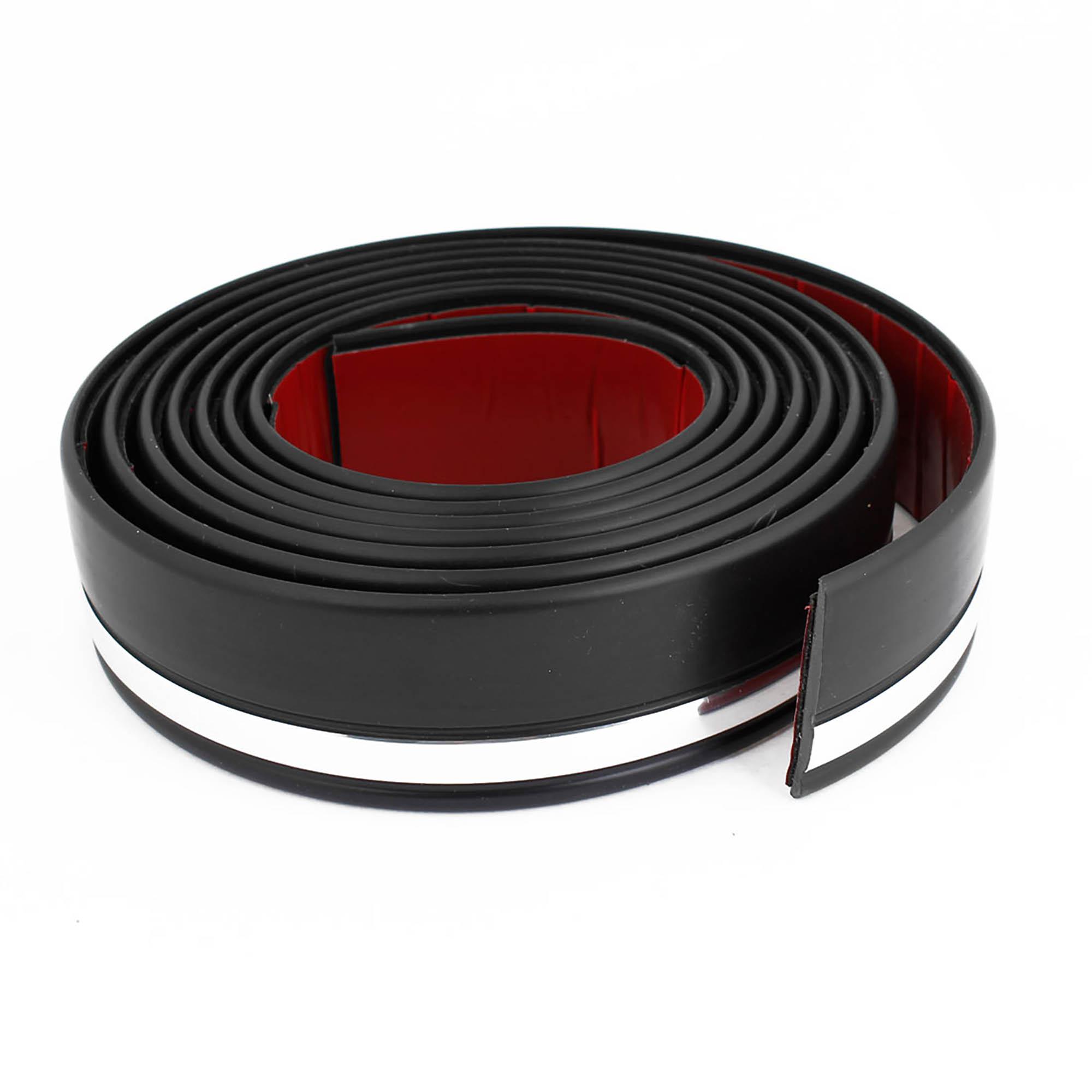Auto Silver Tone Black Door Edge Guard Trim Protector Strip 9.8Ft 45mm Width