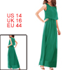 Ladies New Fashion Pure Sea Green Elastic Waist Casual Long Dress L