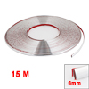 Car Silver Tone 6mm Width 15m Long Flexible Soft Plastic Bumper Decorative Strip