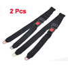 2x Red Press Buckle Closure Car Adjustable Two Point Safety Seat Belt Black