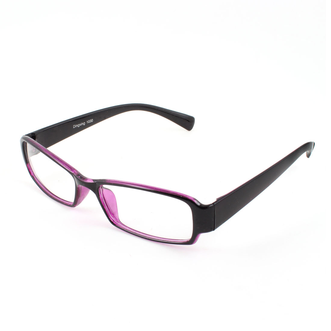Unisex Plastic Frame Clear Lens Plain Glasses Eyeglasses Spectacles Black Purple