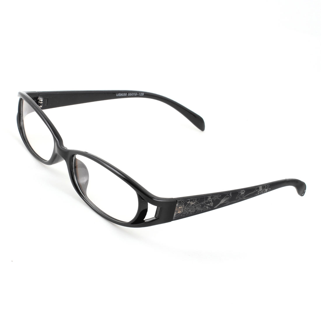 Lady Men Full Rims Black Plastic Arms Multi Coated Lens Plano Glasses