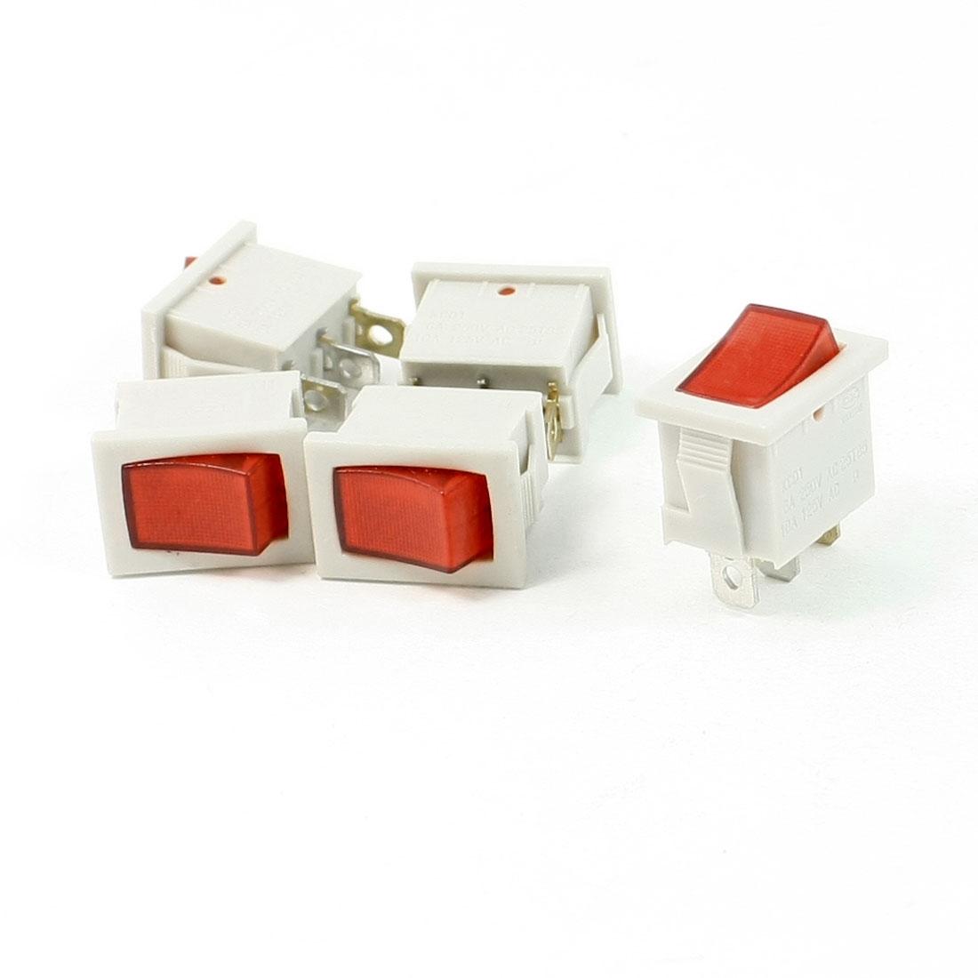 5 Pcs AC 250V/6A 125V/10A 3 Pins SPST Red Light Power Boat Rocker Switch