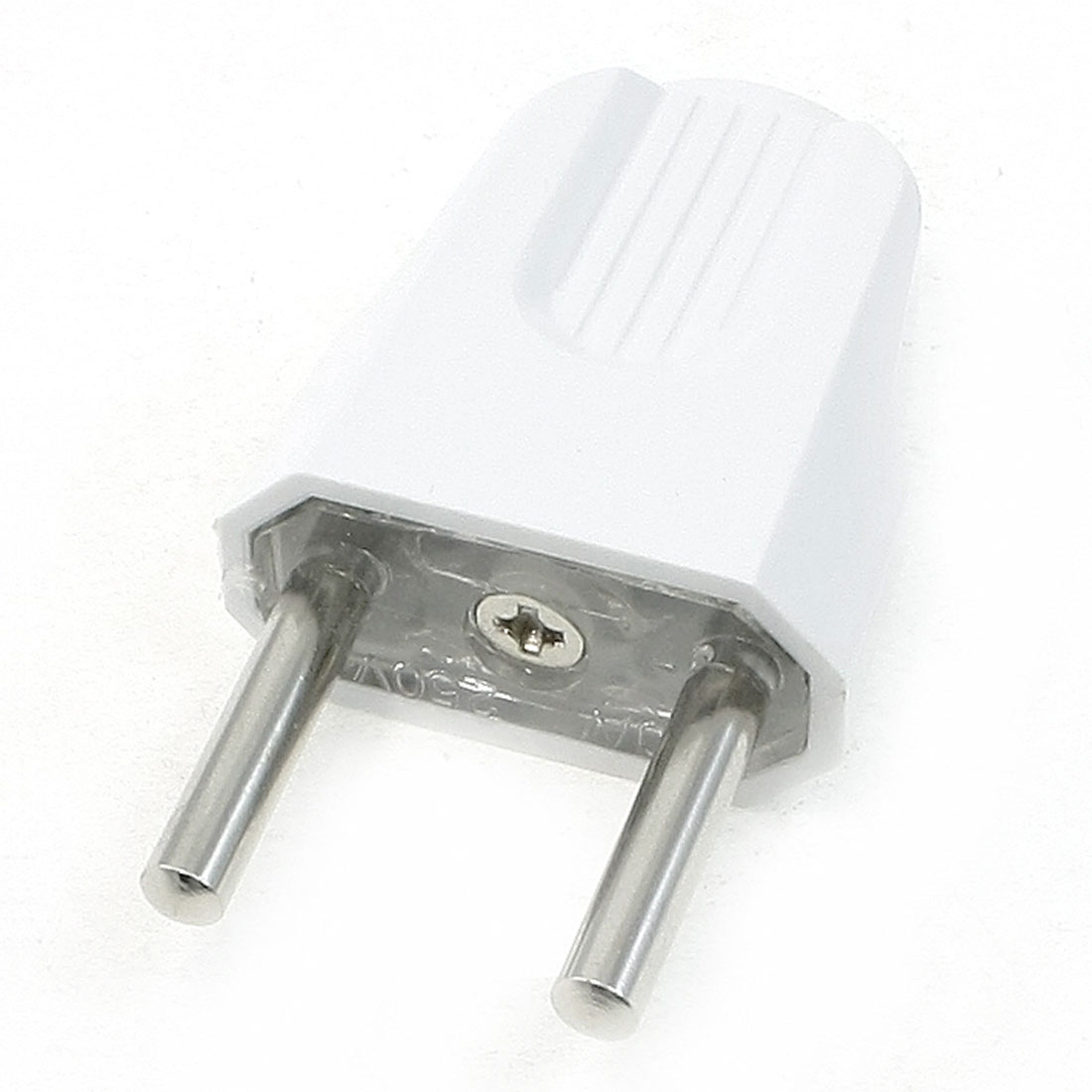 AC 250V 10A White Plastic Shell EU 2 Round Pin Power Plug Connector