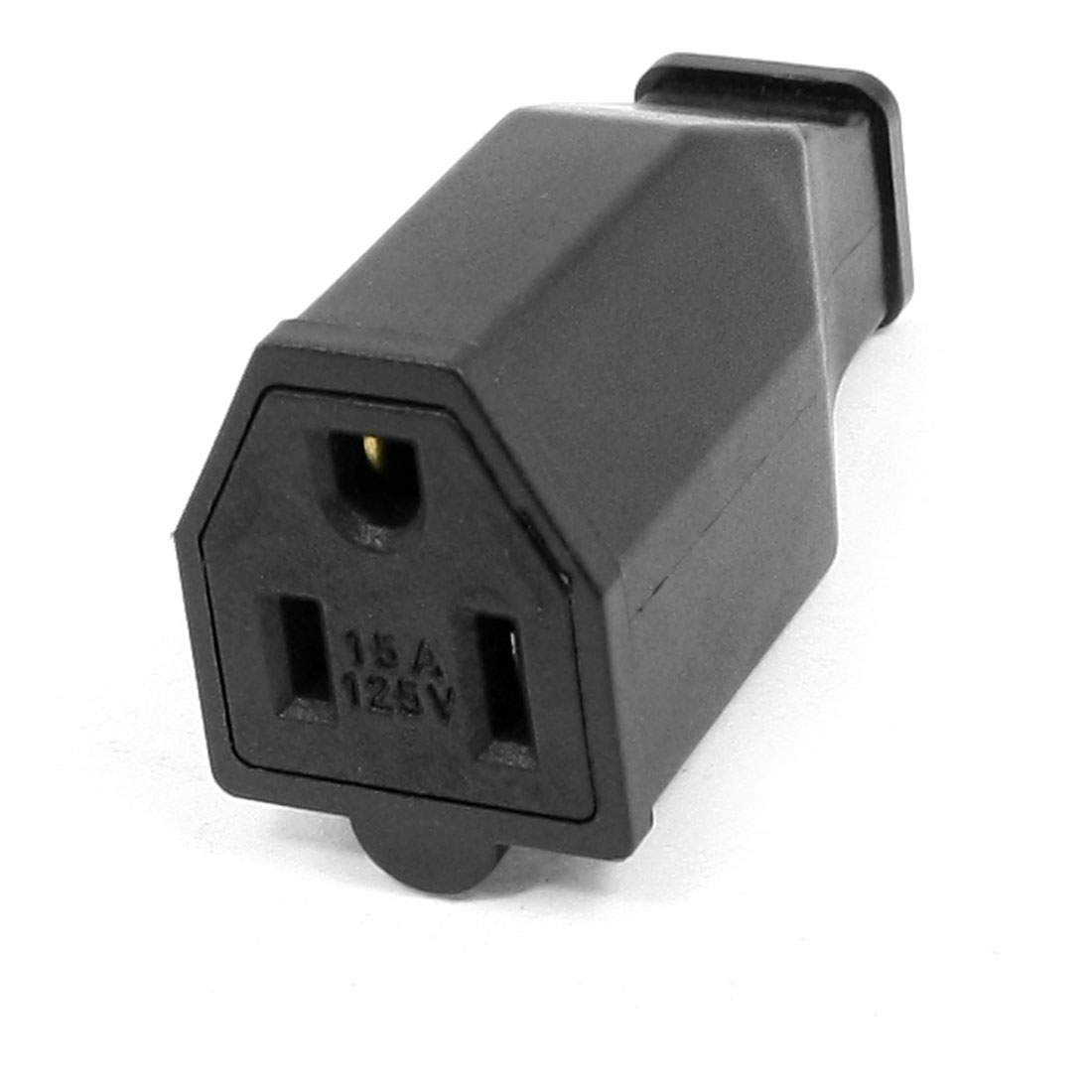 Japan US Grounding Socket Power Cord Connector Black AC 125V 15A