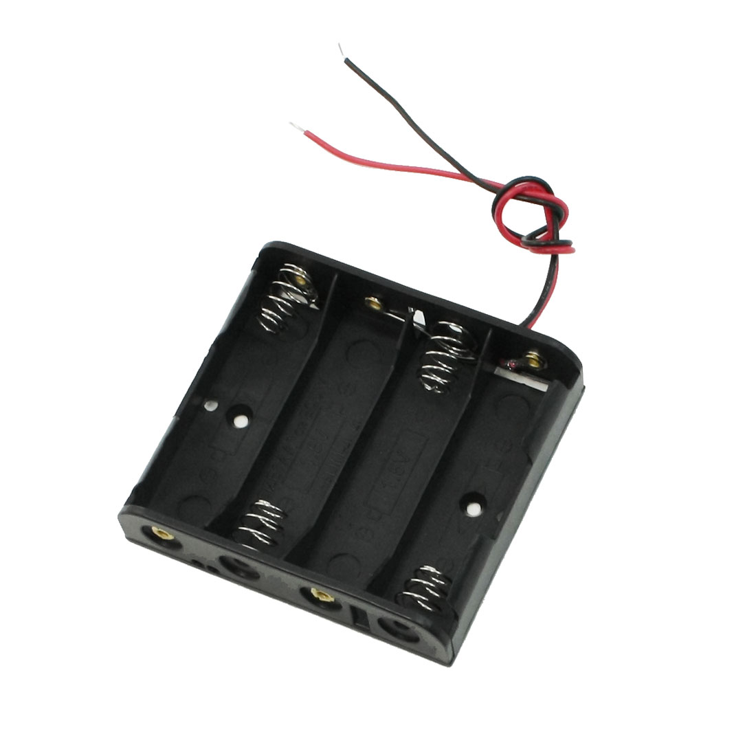 Black Plastic Storage Case 4 x 1.5V AA Battery Holder w Wire Leads