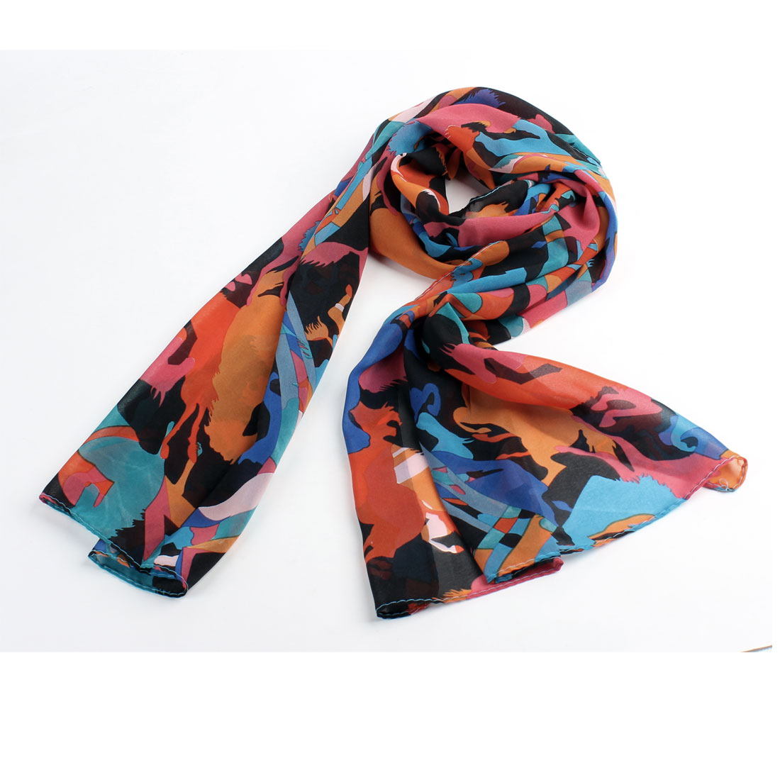 Lady Women Soft Chiffon Horses Printed Blue Black Orange Rectangle Scarf Shawl