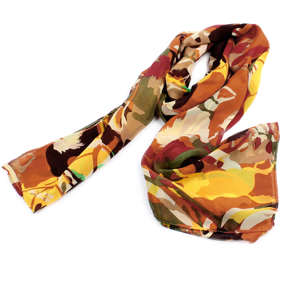 Ladies Horse Pattern Soft Chiffon Long Scarf Stole Shawl Red Green Yellow