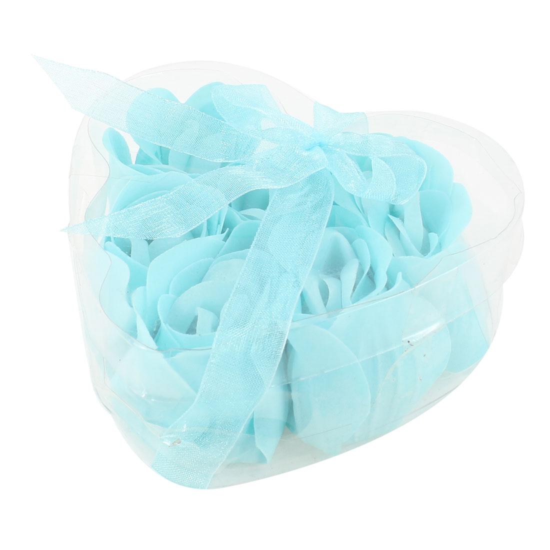 6 Pcs Sky Blue Rose Design Scented Petal Bath Bathing Soap