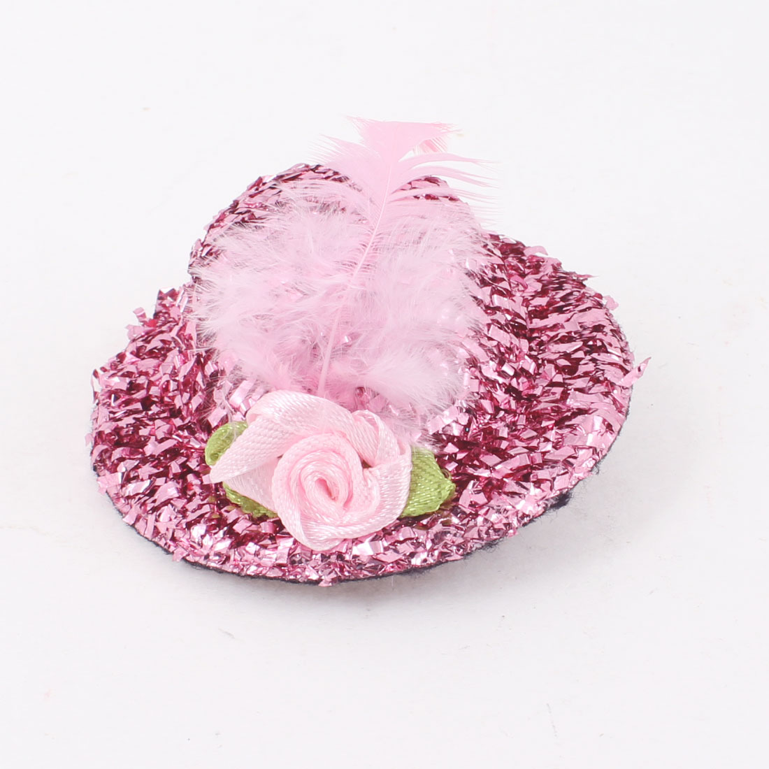 Feather Nylon Flower Detail Alligator Mini Top Tinsel Hat Hair Clip Pink