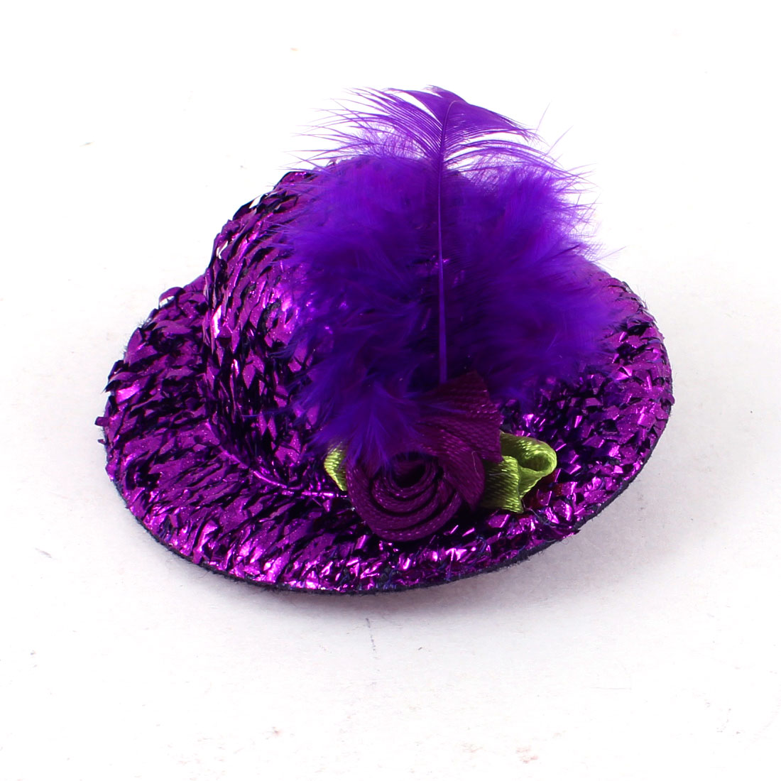 Lady Girl Purple Tinsel Cover Mini Hat Feather Flower Alligator Hair Clip