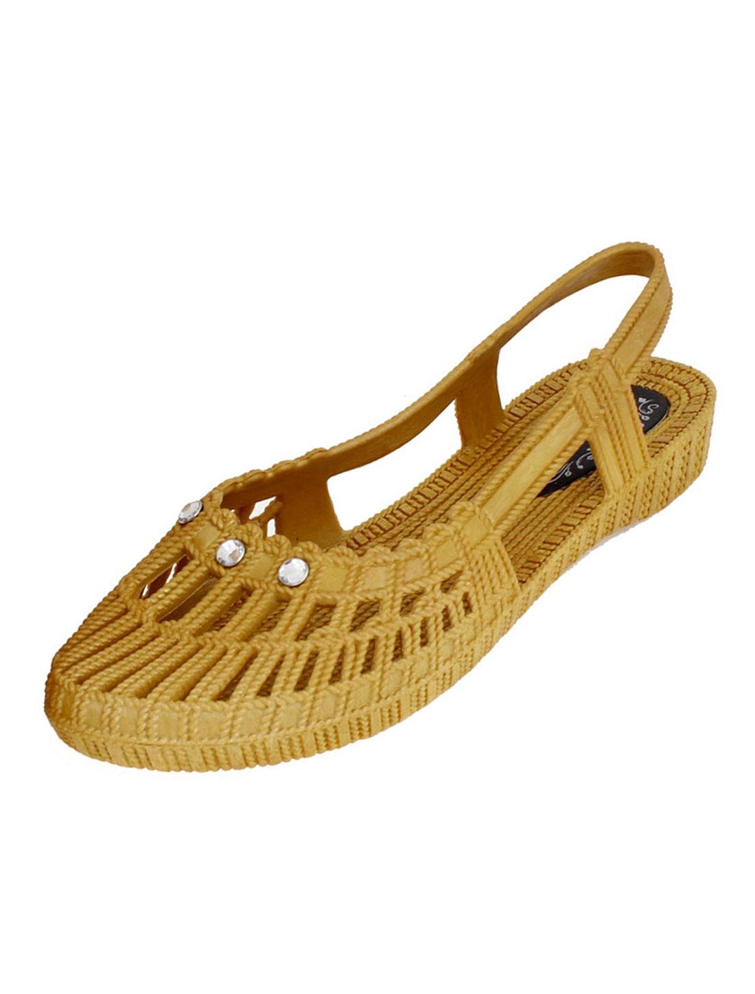 Eva Foam Rhinestone Decor Garden Strap Back Shoes Sandals Khaki UK 6