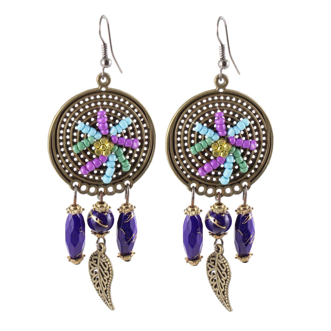 Purple Beaded Bronze Tone Metal Leaves Pendant Fish Hook Earrings