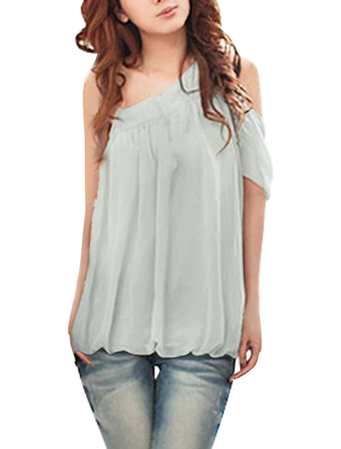 Lady Pale Gray One Shoulder Asymmetrical Neckline Semi Sheer Blouse S