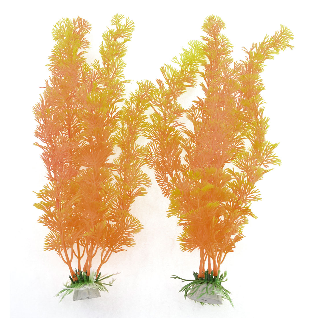 Pair Orange Aquarium Water Plants Ornament for Fish Tank