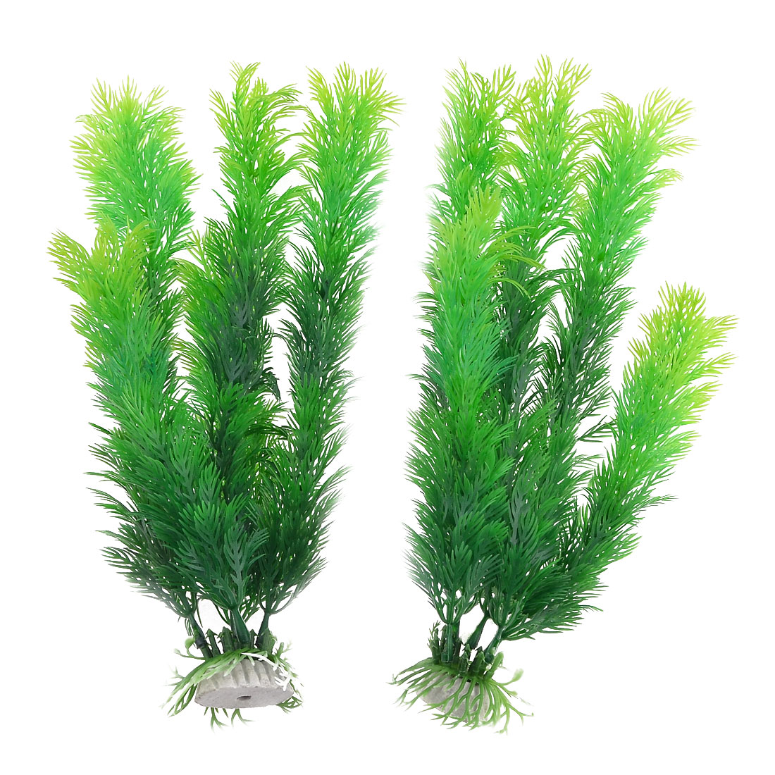 Pair Artifical Green Aquarium Water Plants Ornament for Fish Tank