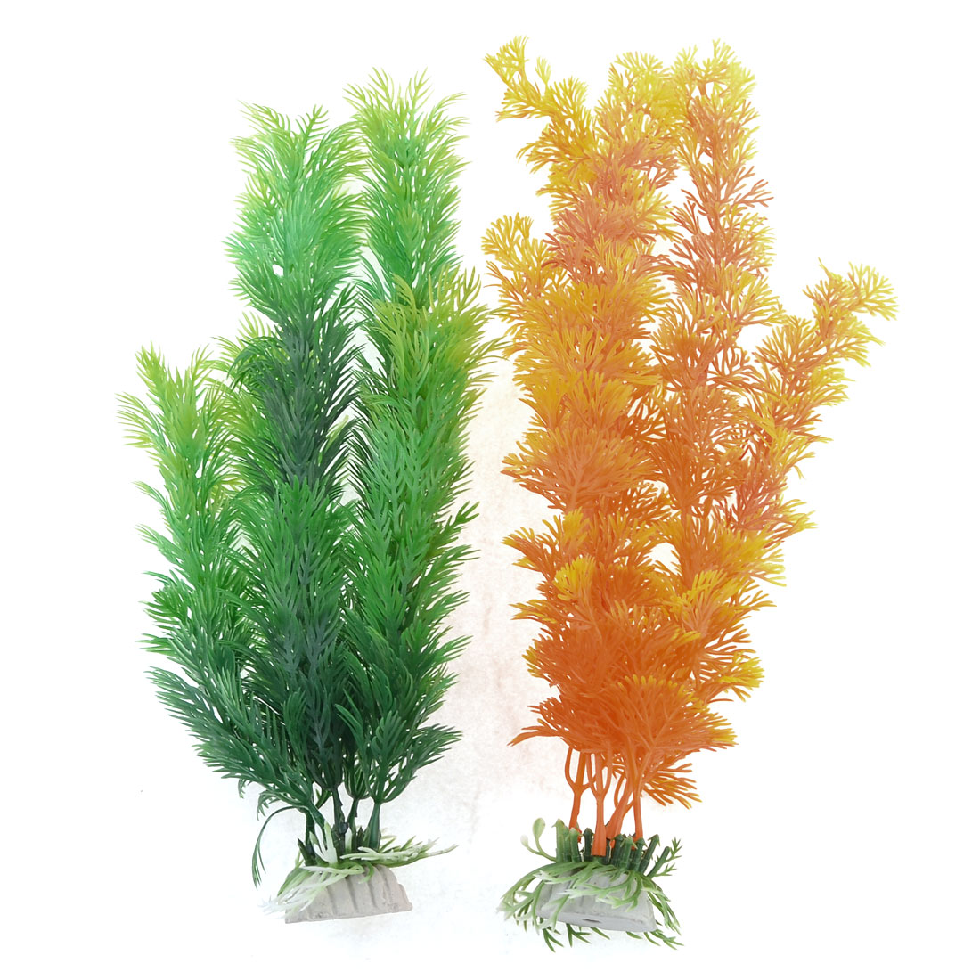 2 Pcs Orange Green Ceramic Base Accent UnderWater plants for Tank