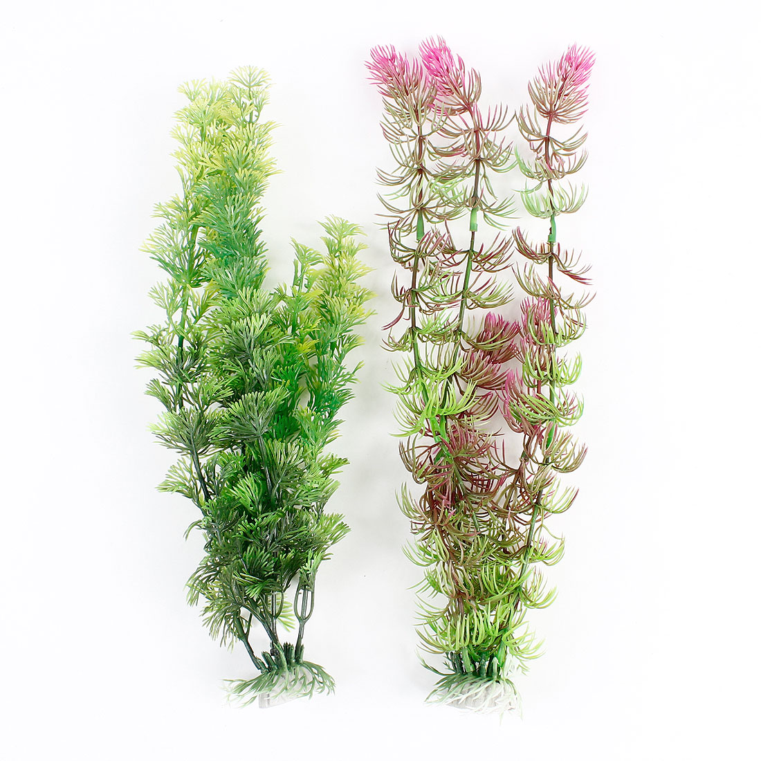 "2 Pcs Green Fuchsia Plastic Underwater Weeds Plant Ornament 15"" High for Fish Tank"