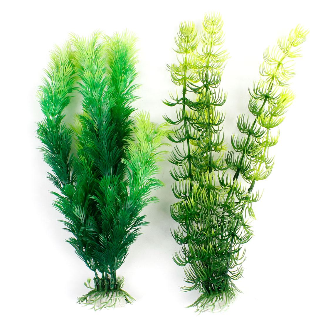 Green Plastic Underwater Weeds Plant 2 Pcs for Fish Tank Aquarium