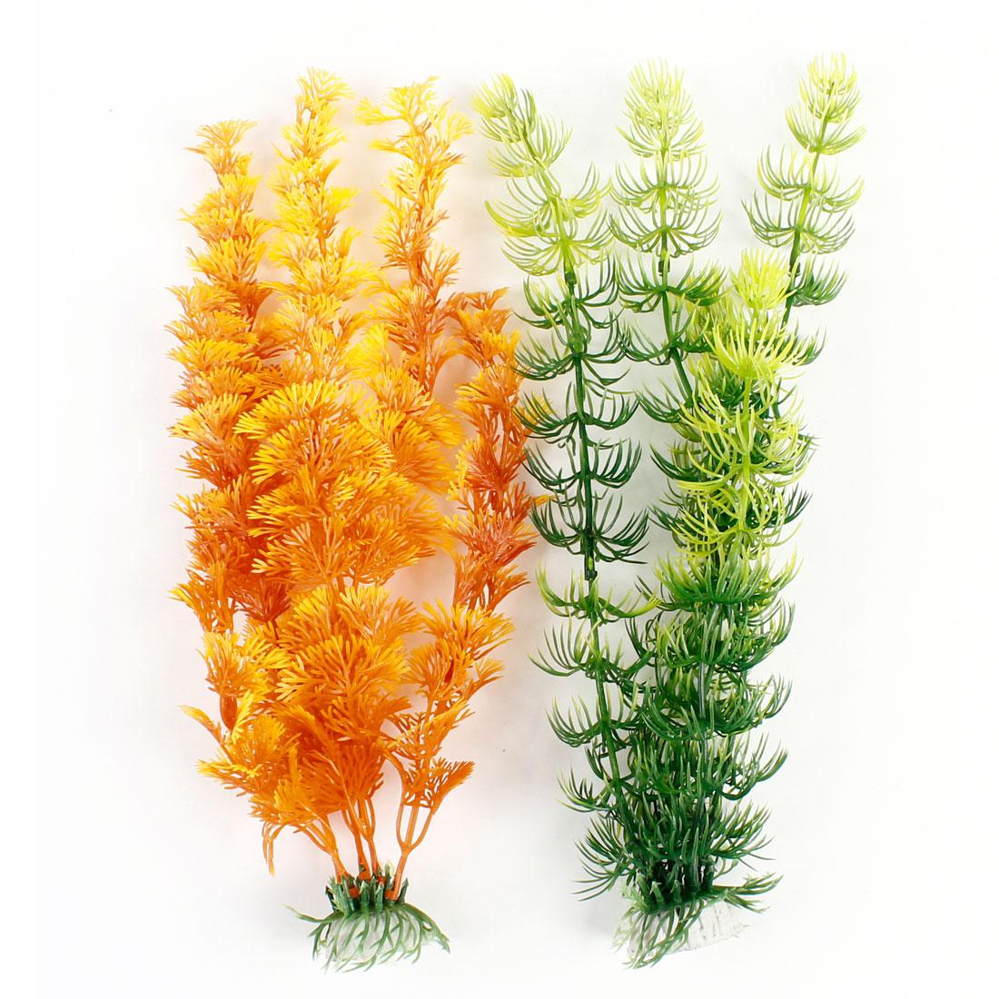 "13.8"" Height Aquariums Green Orange Plastic Water Plant 2 Pcs"