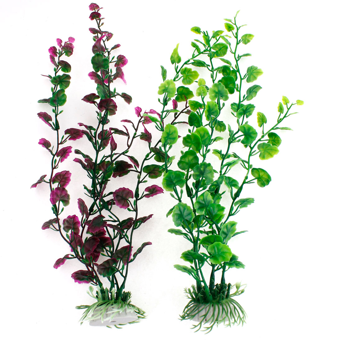 2 Pcs Ornamental Dark Purple Green Imitation Aquariums Water Grass for Fish Tank